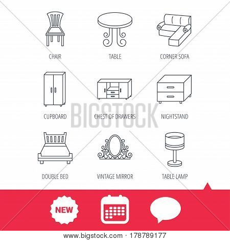 Corner sofa, table and cupboard icons. Chair, lamp and nightstand linear signs. Vintage mirror, double bed and chest of drawers icons. New tag, speech bubble and calendar web icons. Vector