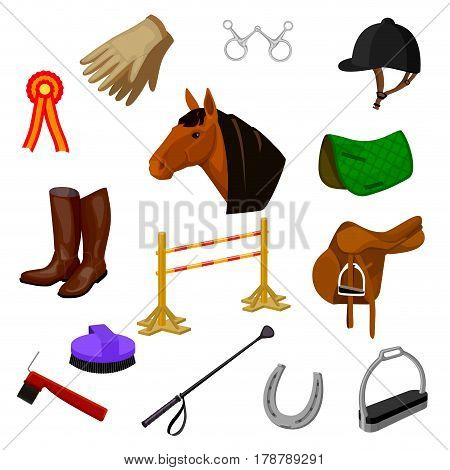 cartoon color icons of equestrian sports and grooming items