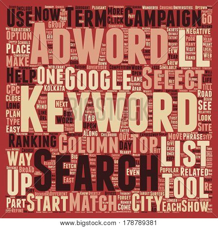 Keywords Trust Adwords text background wordcloud concept poster