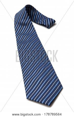 Striped blue necktie isolated on white background