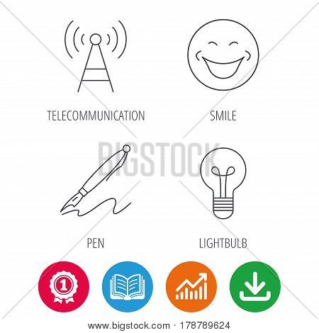 Pen, telecommunication and lightbulb icons. Smiling face linear sign. Award medal, growth chart and opened book web icons. Download arrow. Vector