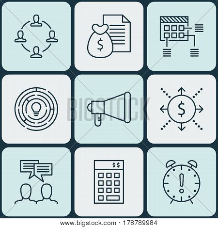 Set Of 9 Project Management Icons. Includes Report, Innovation, Schedule And Other Symbols. Beautiful Design Elements.