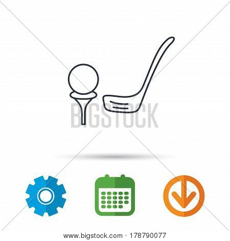 Golf club icon. Golfing sport sign. Professional equipment symbol. Calendar, cogwheel and download arrow signs. Colored flat web icons. Vector