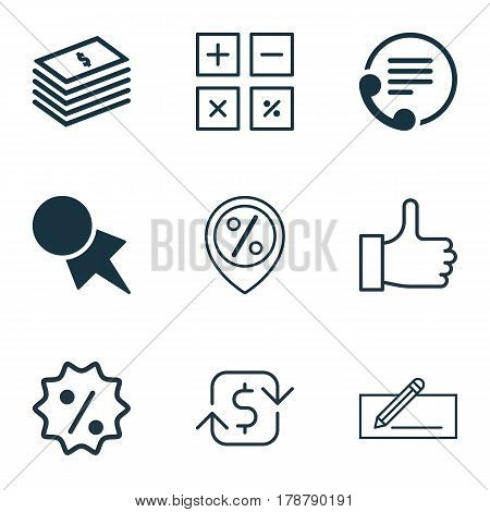Set Of 9 Ecommerce Icons. Includes Recurring Payements, Calculation Tool, Dollar Banknote And Other Symbols. Beautiful Design Elements.