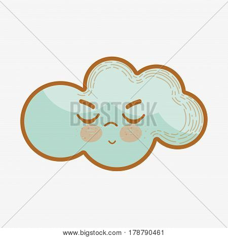 kawaii angry cloud with closed eyes and mouth, vetor illustration design