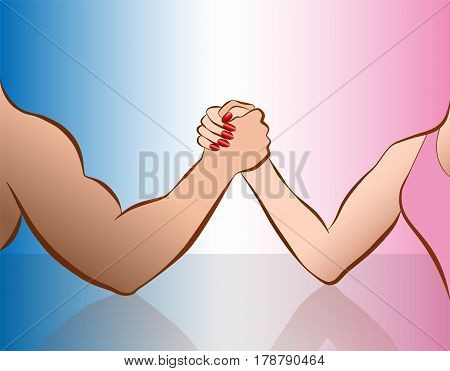 Arm wrestling of woman and man as a symbol for gender showdown. Isolated vector illustration on pink and blue gradient.