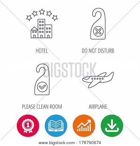 Hotel, airplane and do not disturb icons. Clean room linear sign. Award medal, growth chart and opened book web icons. Download arrow. Vector