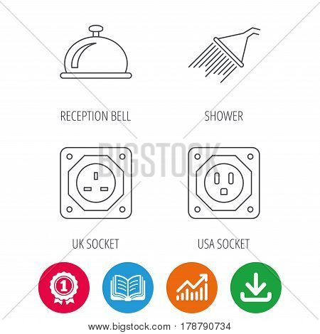 Shower, UK socket and USA socket icons. Reception bell linear sign. Award medal, growth chart and opened book web icons. Download arrow. Vector