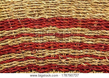 Close up of colorful woven mat texture background