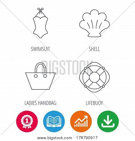 Ladies handbag, shell and swimsuit icons. Lifebuoy linear sign. Award medal, growth chart and opened book web icons. Download arrow. Vector