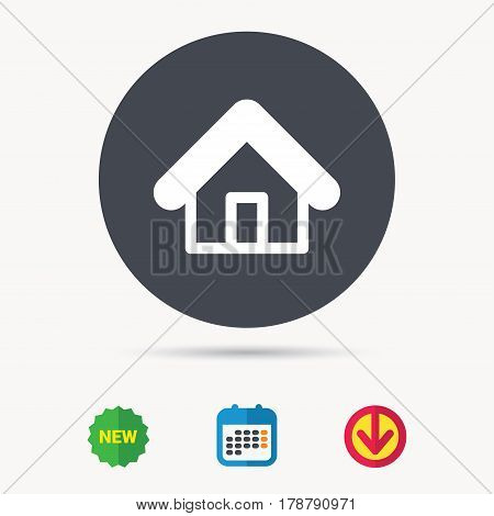 Home icon. House building symbol. Real estate construction. Calendar, download arrow and new tag signs. Colored flat web icons. Vector