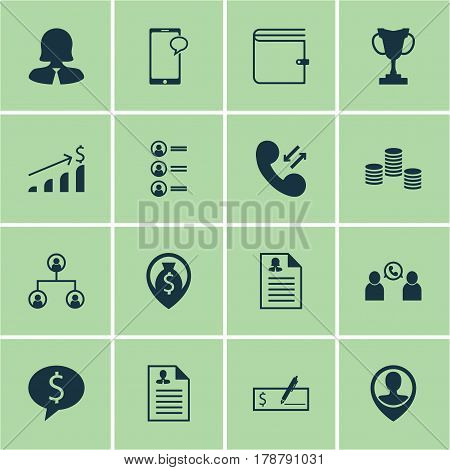 Set Of 16 Hr Icons. Includes Employee Location, Cellular Data, Phone Conference And Other Symbols. Beautiful Design Elements.