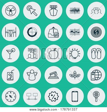 Set Of 25 Universal Editable Icons. Can Be Used For Web, Mobile And App Design. Includes Elements Such As Business Goal, Cocktail, Great Glimpse And More.