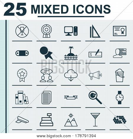 Set Of 25 Universal Editable Icons. Can Be Used For Web, Mobile And App Design. Includes Elements Such As Media Campaign, Personal Skills, Discount Coupon And More.