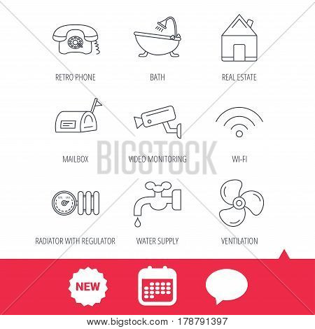 Wifi, video camera and mailbox icons. Real estate, bath and water supply linear signs. Radiator with heat regulator, phone icons. New tag, speech bubble and calendar web icons. Vector