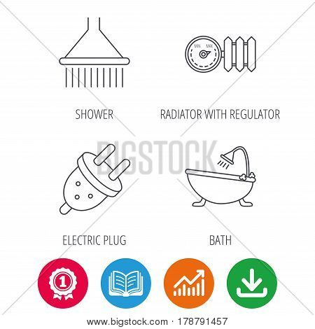 Shower, bath and electric plug icons. Radiator with regulator linear sign. Award medal, growth chart and opened book web icons. Download arrow. Vector