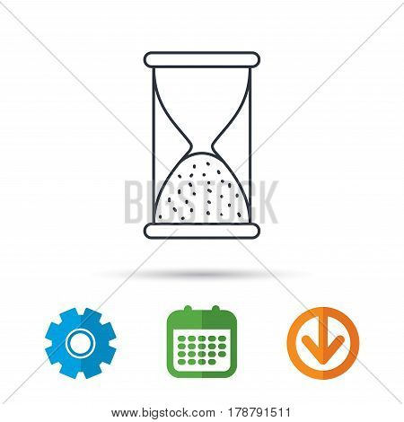 Hourglass icon. Sand end time sign. Hour ends symbol. Calendar, cogwheel and download arrow signs. Colored flat web icons. Vector