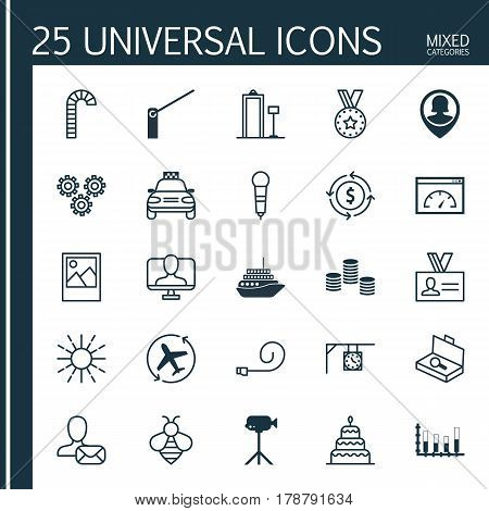 Set Of 25 Universal Editable Icons. Can Be Used For Web, Mobile And App Design. Includes Elements Such As Segmented Bar Graph, Lollipop, Suitcase Checking And More.