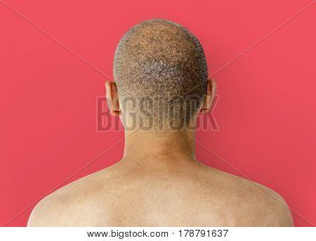 A Man Back View with Skinhead
