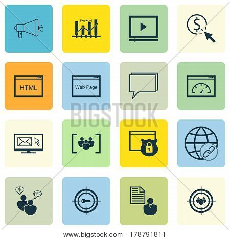Set Of 16 Advertising Icons. Includes Video Player, PPC, Focus Group And Other Symbols. Beautiful Design Elements.