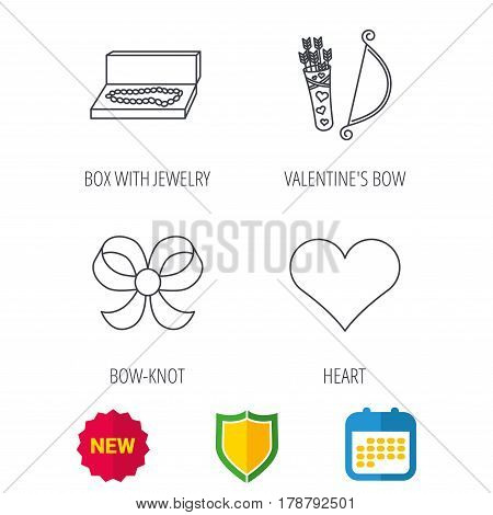 Love heart, jewelry and bow-knot icons. Valentine amour arrows linear sign. Shield protection, calendar and new tag web icons. Vector