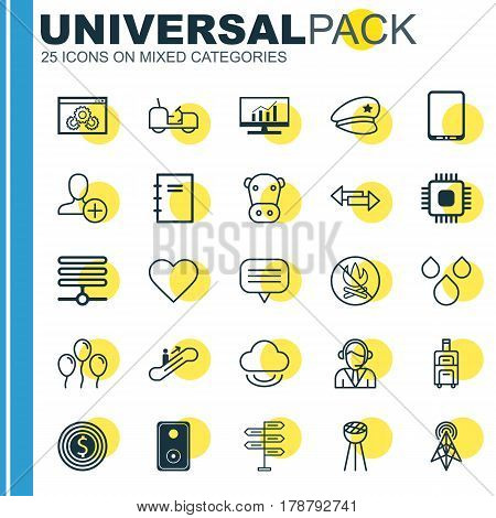 Set Of 25 Universal Editable Icons. Can Be Used For Web, Mobile And App Design. Includes Elements Such As Audio Device, Web Page Performance, Operator And More.