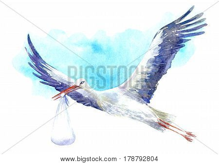 Stork with baby on the background of blue sky. Newborn picture. Watercolor hand drawn illustration.