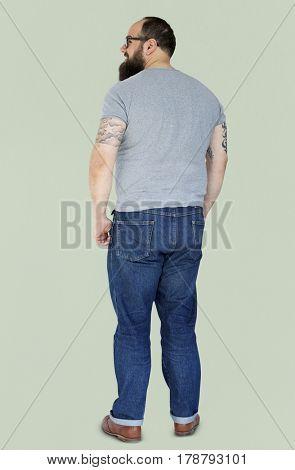 Adult Beard Man with Tattoo Gesture Stand Studio Portrait