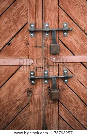 Old Door And Padlocks. Set Of Backgrounds