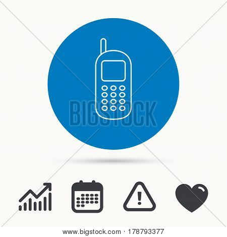 Mobile phone icon. Cellphone with antenna sign. Calendar, attention sign and growth chart. Button with web icon. Vector