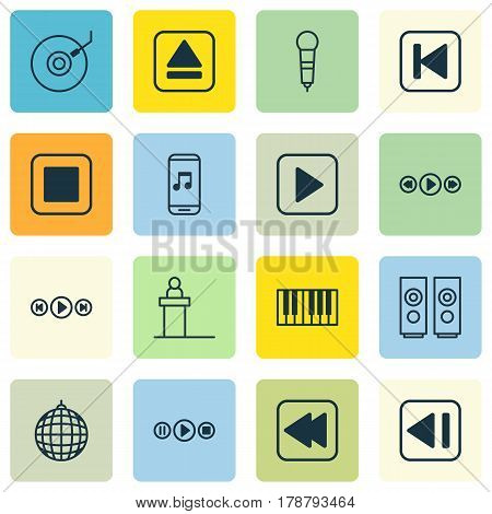 Set Of 16 Music Icons. Includes Last Song, Microphone, Rewind Back And Other Symbols. Beautiful Design Elements.