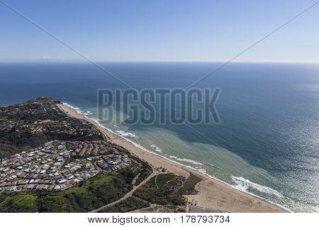 Aerial view of Westward Beach, Point Dume and Zuma Beach in Malibu, California.