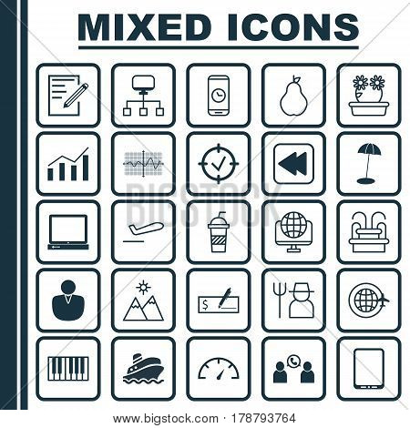 Set Of 25 Universal Editable Icons. Can Be Used For Web, Mobile And App Design. Includes Elements Such As Bank Payment, Duchess, Speed Checker And More.