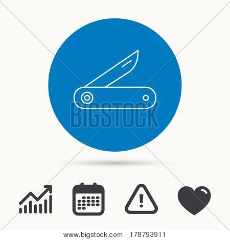 Multitool knife icon. Multifunction tool sign. Hiking equipment symbol. Calendar, attention sign and growth chart. Button with web icon. Vector