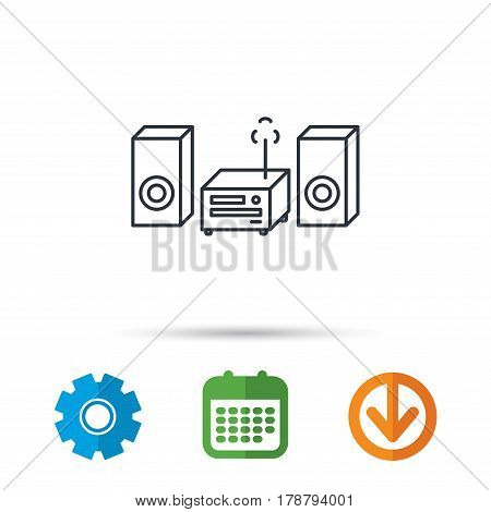 Music center icon. Stereo system sign. Calendar, cogwheel and download arrow signs. Colored flat web icons. Vector