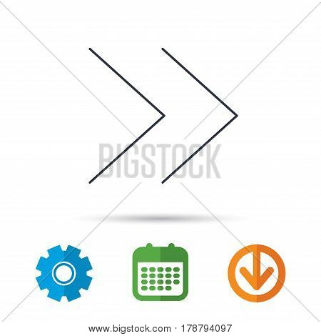 Next arrow icon. Forward sign. Right direction symbol. Calendar, cogwheel and download arrow signs. Colored flat web icons. Vector