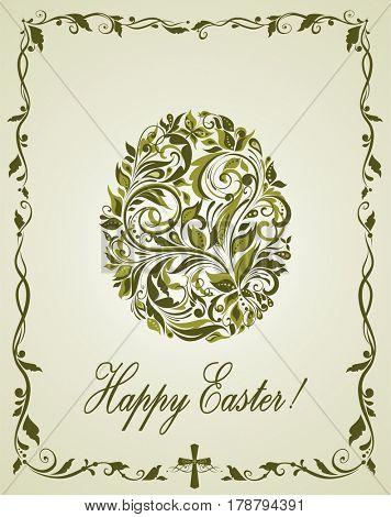 Greeting easter card with vintage olive floral egg shape