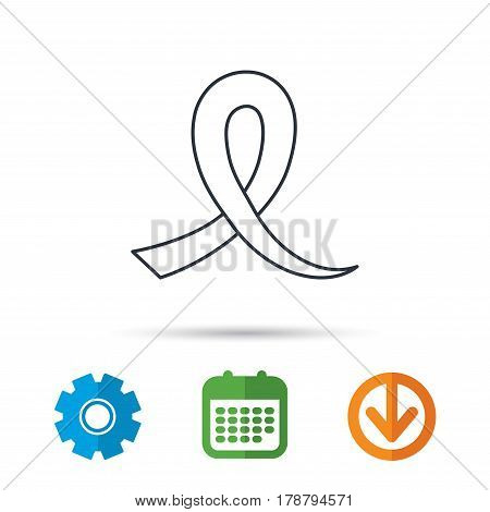 Awareness ribbon icon. Oncology sign. Calendar, cogwheel and download arrow signs. Colored flat web icons. Vector