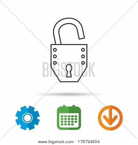 Open lock icon. Padlock or protection sign. Password symbol. Calendar, cogwheel and download arrow signs. Colored flat web icons. Vector