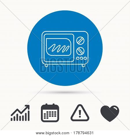 Microwave oven icon. Kitchen appliance sign. Calendar, attention sign and growth chart. Button with web icon. Vector
