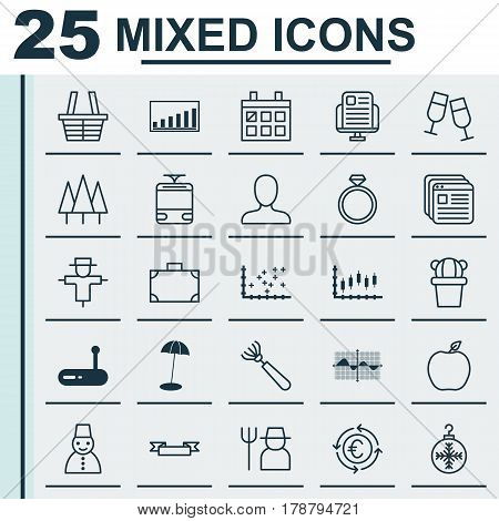 Set Of 25 Universal Editable Icons. Can Be Used For Web, Mobile And App Design. Includes Elements Such As Harrow, Router, Wedding Jewel And More.