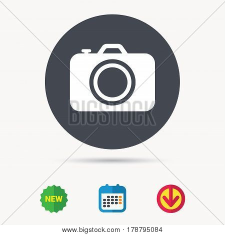 Camera icon. Professional photocamera symbol. Calendar, download arrow and new tag signs. Colored flat web icons. Vector