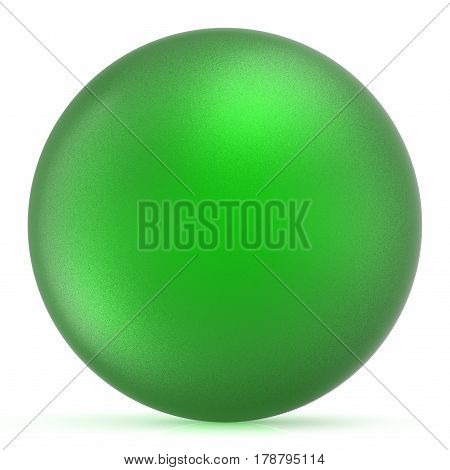 Green sphere round button ball basic matted circle geometric shape solid figure  3D illustration isolated