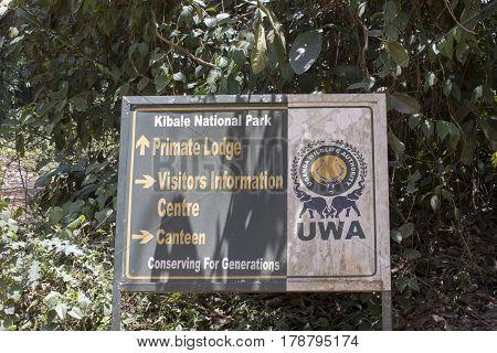 Kibale National Park Uganda - February 23 2017 : Entrance sign for the Uganda Wildlife Authority Kibale National Park.