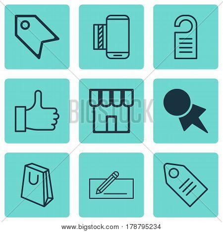Set Of 9 E-Commerce Icons. Includes Ticket, Price Stamp, Recommended And Other Symbols. Beautiful Design Elements.