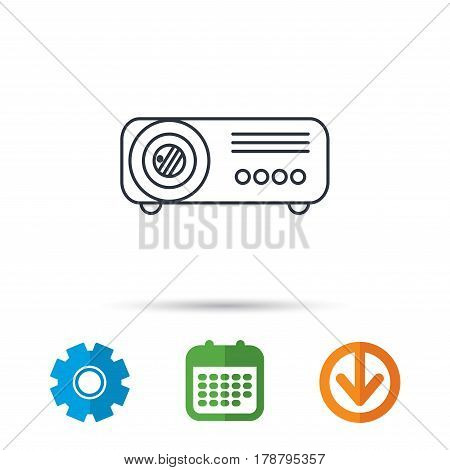 Projector icon. Video presentation device sign. Business office conference tool symbol. Calendar, cogwheel and download arrow signs. Colored flat web icons. Vector