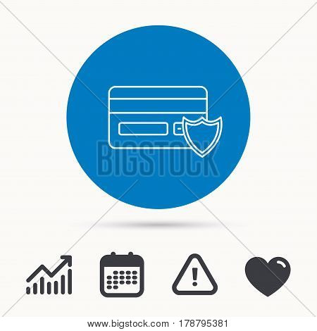 Protection credit card icon. Shopping sign. Calendar, attention sign and growth chart. Button with web icon. Vector