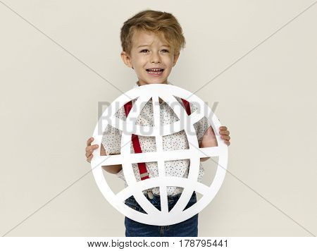 Little Boy Smiling Happiness Holding Globe Symbol Connection