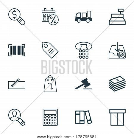 Set Of 16 Ecommerce Icons. Includes Callcentre, Business Inspection, Refund And Other Symbols. Beautiful Design Elements.