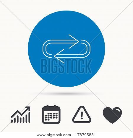 Repeat icon. Full rotation sign. Reload, refresh loop symbol. Calendar, attention sign and growth chart. Button with web icon. Vector